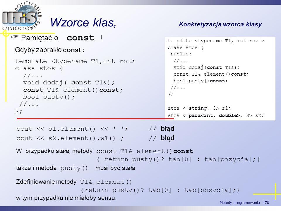 Metody programowania 178 Wzorce klas, Konkretyzacja wzorca klasy Pamiętać o const ! template class stos { public: //... void dodaj(const T1&); const T