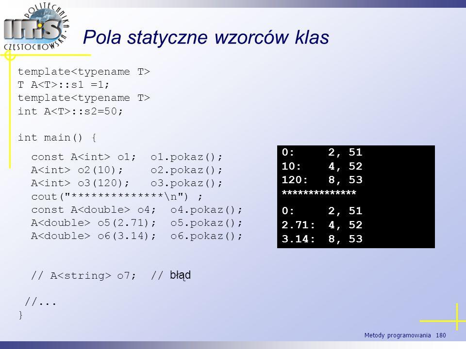 Metody programowania 180 Pola statyczne wzorców klas template T A ::s1 =1; template int A ::s2=50; int main() { const A o1; o1.pokaz(); A o2(10); o2.p