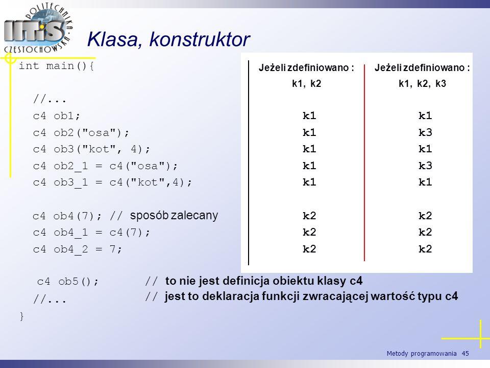 Metody programowania 45 int main(){ //... c4 ob1; c4 ob2(