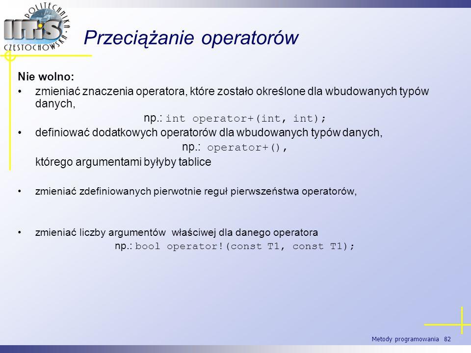 Metody programowania 82 Przeciążanie operatorów Nie wolno: zmieniać znaczenia operatora, które zostało określone dla wbudowanych typów danych, np.: in