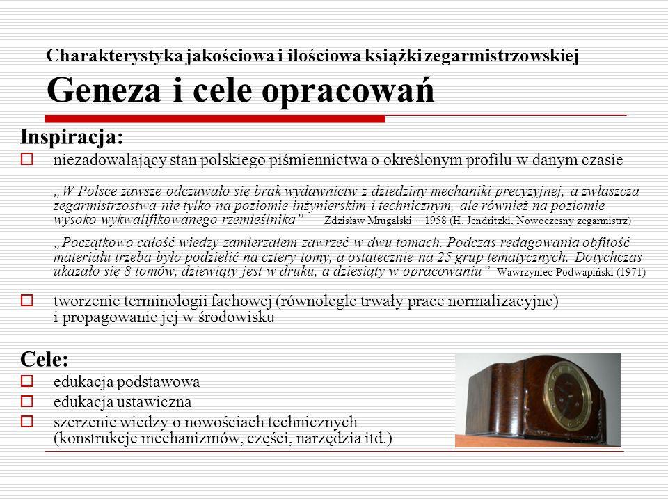 Charakterystyka jakościowa i ilościowa książki zegarmistrzowskiej Geneza i cele opracowań Inspiracja: niezadowalający stan polskiego piśmiennictwa o o