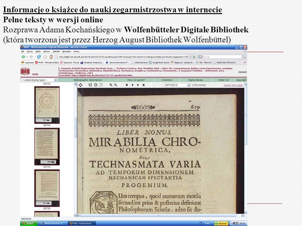 Informacje o książce do nauki zegarmistrzostwa w internecie Pełne teksty w wersji online Rozprawa Adama Kochańskiego w Wolfenbütteler Digitale Bibliot