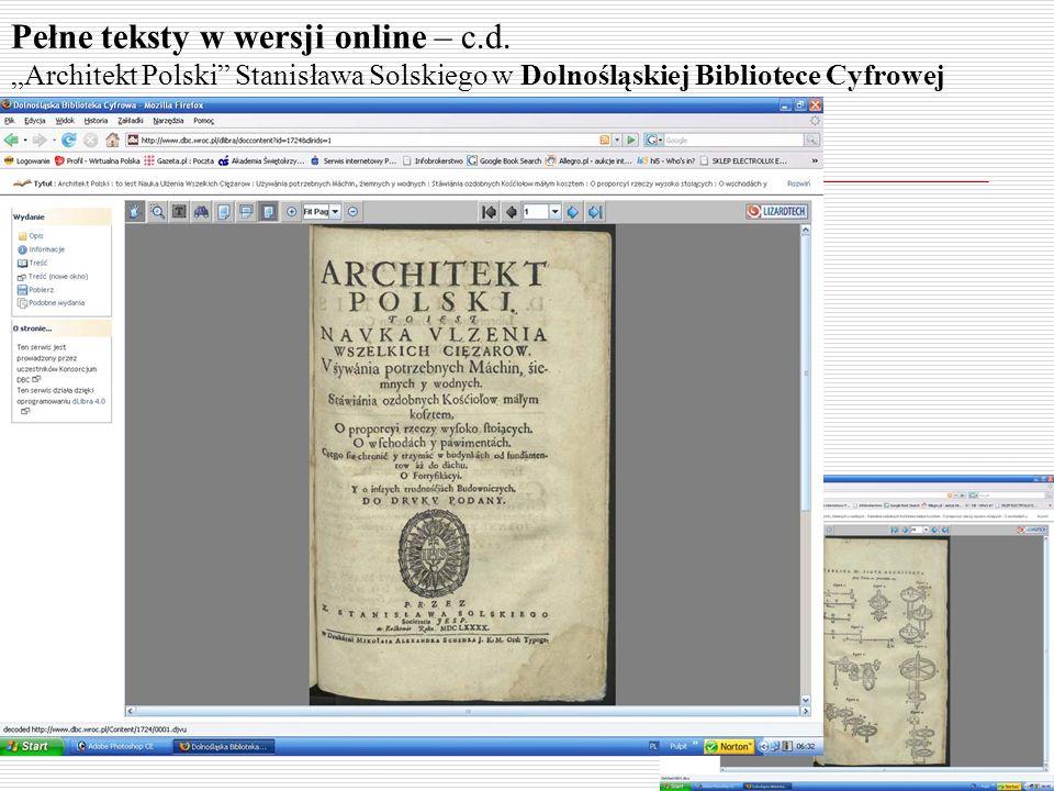 Pełne teksty w wersji online – c.d. Architekt Polski Stanisława Solskiego w Dolnośląskiej Bibliotece Cyfrowej