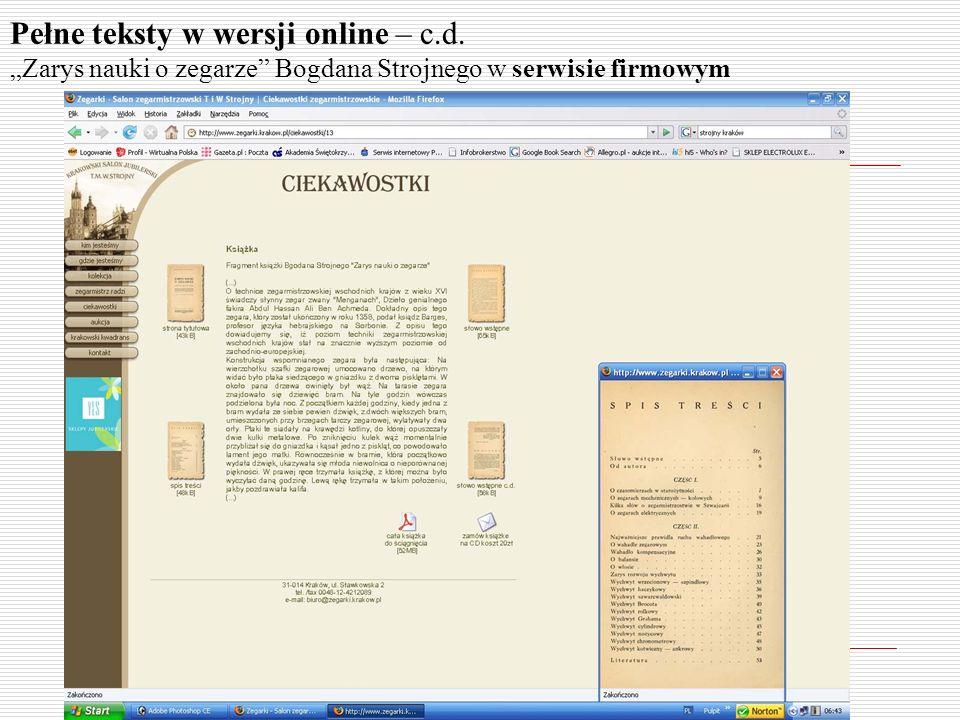 Pełne teksty w wersji online – c.d. Zarys nauki o zegarze Bogdana Strojnego w serwisie firmowym