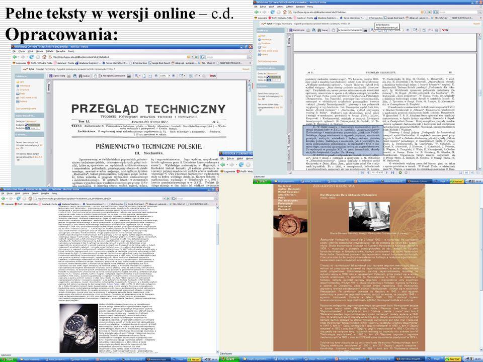 Pełne teksty w wersji online – c.d. Opracowania: