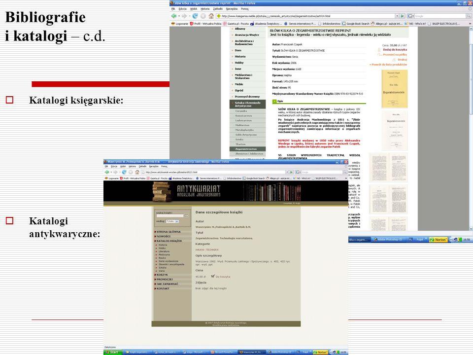 Bibliografie i katalogi – c.d. Katalogi księgarskie: Katalogi antykwaryczne: