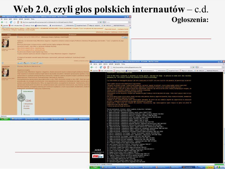 Web 2.0, czyli głos polskich internautów – c.d. Ogłoszenia:
