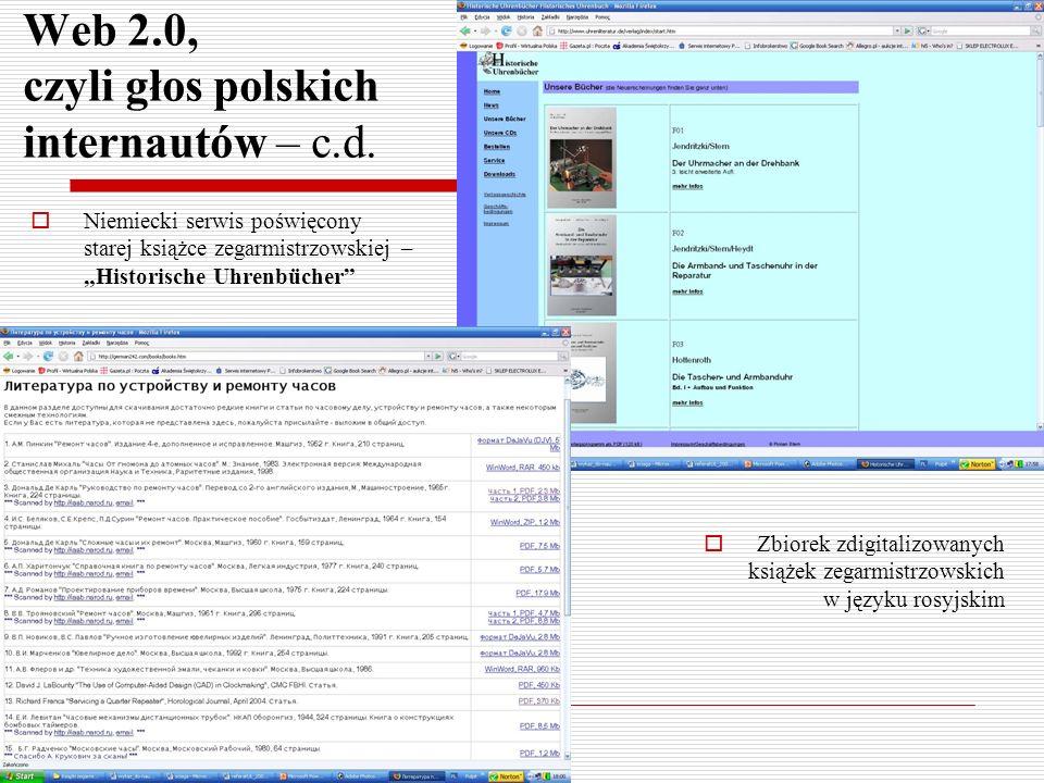 Web 2.0, czyli głos polskich internautów – c.d. Niemiecki serwis poświęcony starej książce zegarmistrzowskiej – Historische Uhrenbücher Zbiorek zdigit