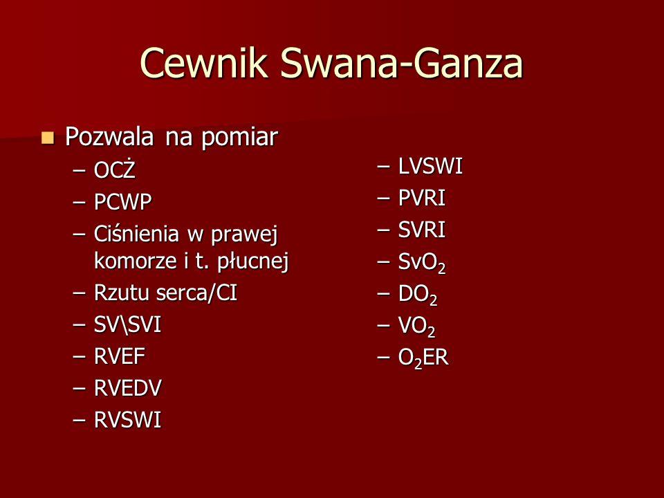 Cewnik Swana-Ganza Pozwala na pomiar Pozwala na pomiar –OCŻ –PCWP –Ciśnienia w prawej komorze i t. płucnej –Rzutu serca/CI –SV\SVI –RVEF –RVEDV –RVSWI