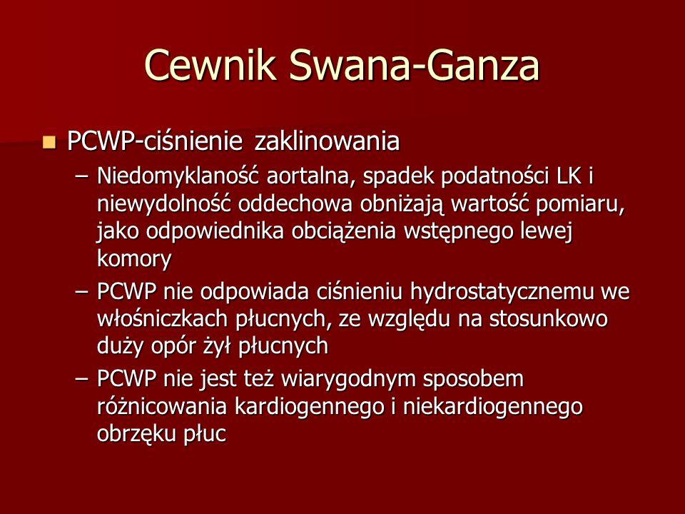 Cewnik Swana-Ganza PCWP-ciśnienie zaklinowania PCWP-ciśnienie zaklinowania –Niedomyklaność aortalna, spadek podatności LK i niewydolność oddechowa obn