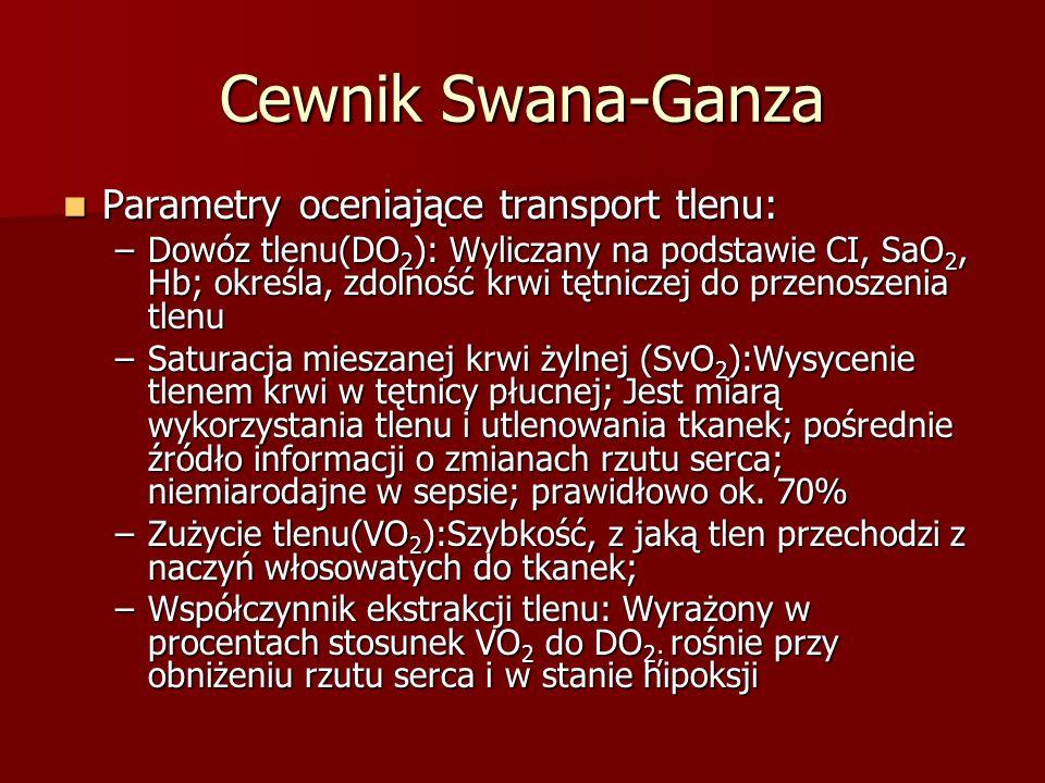 Cewnik Swana-Ganza Parametry oceniające transport tlenu: Parametry oceniające transport tlenu: –Dowóz tlenu(DO 2 ): Wyliczany na podstawie CI, SaO 2,