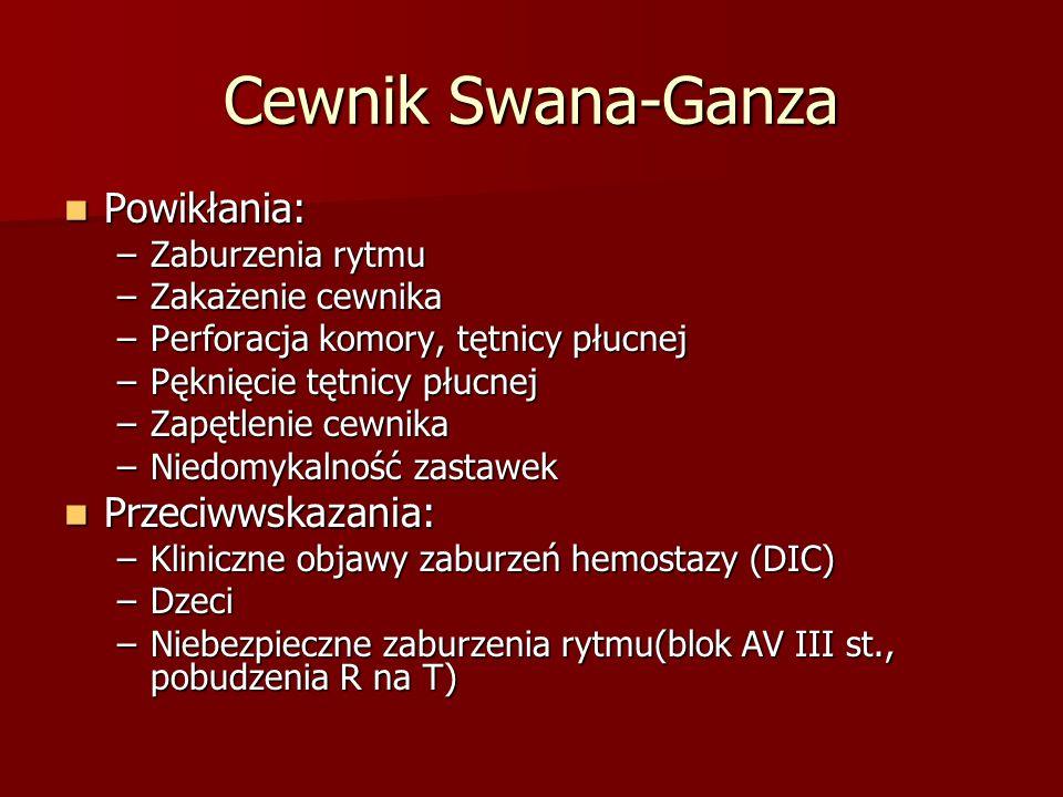 Cewnik Swana-Ganza Powikłania: Powikłania: –Zaburzenia rytmu –Zakażenie cewnika –Perforacja komory, tętnicy płucnej –Pęknięcie tętnicy płucnej –Zapętl