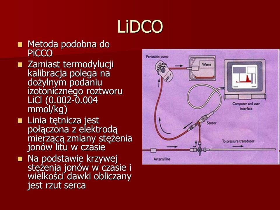 LiDCO Metoda podobna do PiCCO Metoda podobna do PiCCO Zamiast termodylucji kalibracja polega na dożylnym podaniu izotonicznego roztworu LiCl (0.002-0.