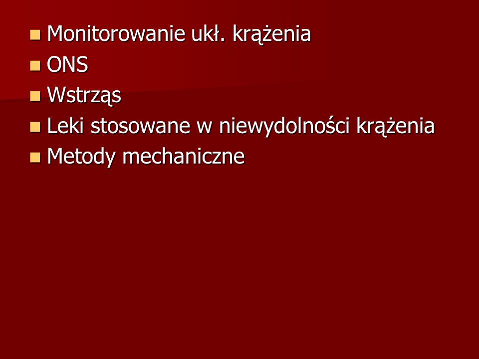 Monitorowanie ukł. krążenia Monitorowanie ukł. krążenia ONS ONS Wstrząs Wstrząs Leki stosowane w niewydolności krążenia Leki stosowane w niewydolności