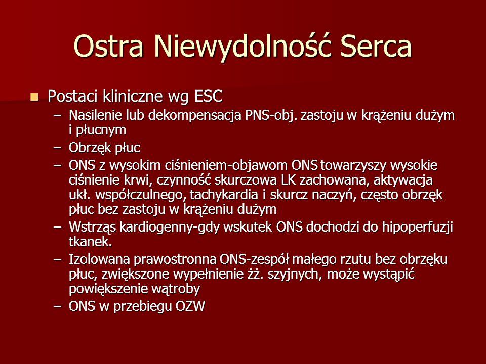 Ostra Niewydolność Serca Postaci kliniczne wg ESC Postaci kliniczne wg ESC –Nasilenie lub dekompensacja PNS-obj. zastoju w krążeniu dużym i płucnym –O