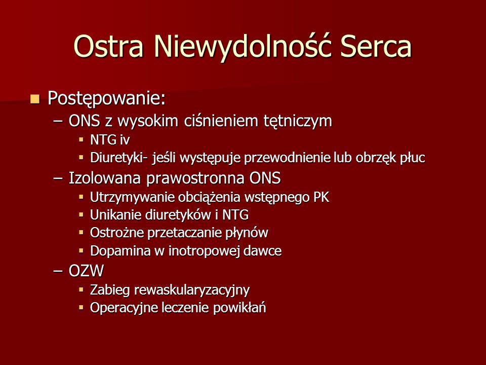 Ostra Niewydolność Serca Postępowanie: Postępowanie: –ONS z wysokim ciśnieniem tętniczym NTG iv NTG iv Diuretyki- jeśli występuje przewodnienie lub ob