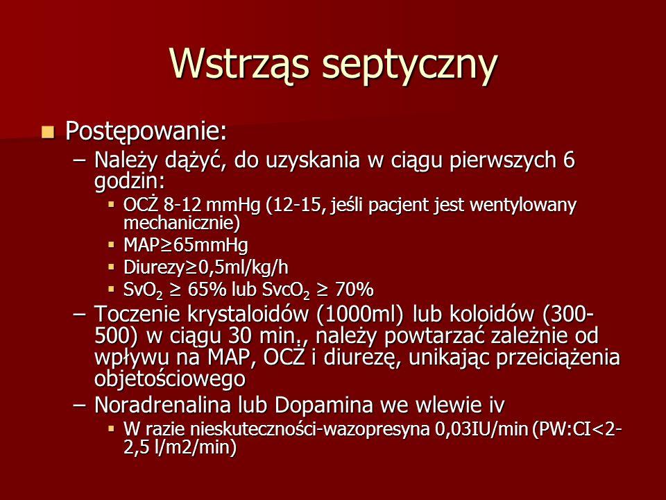 Wstrząs septyczny Postępowanie: Postępowanie: –Należy dążyć, do uzyskania w ciągu pierwszych 6 godzin: OCŻ 8-12 mmHg (12-15, jeśli pacjent jest wentyl