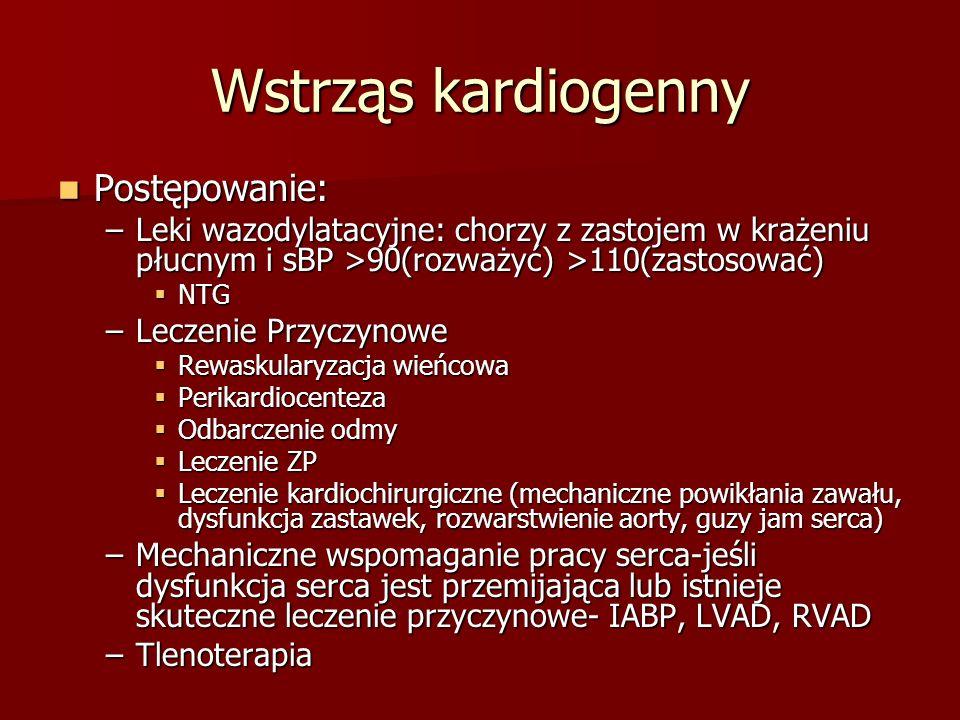 Wstrząs kardiogenny Postępowanie: Postępowanie: –Leki wazodylatacyjne: chorzy z zastojem w krażeniu płucnym i sBP >90(rozważyć) >110(zastosować) NTG N