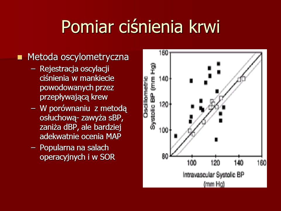 Pomiar ciśnienia krwi Metoda oscylometryczna Metoda oscylometryczna –Rejestracja oscylacji ciśnienia w mankiecie powodowanych przez przepływającą krew