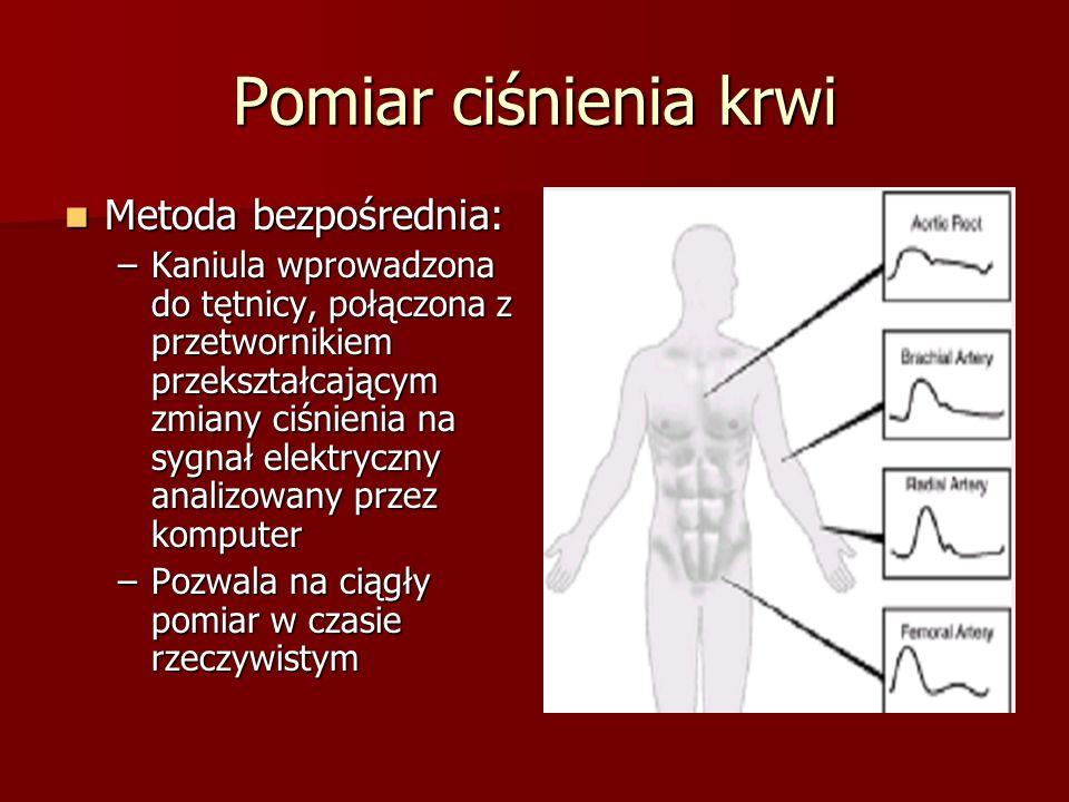 Pomiar ciśnienia krwi Metoda bezpośrednia: Metoda bezpośrednia: –Kaniula wprowadzona do tętnicy, połączona z przetwornikiem przekształcającym zmiany c