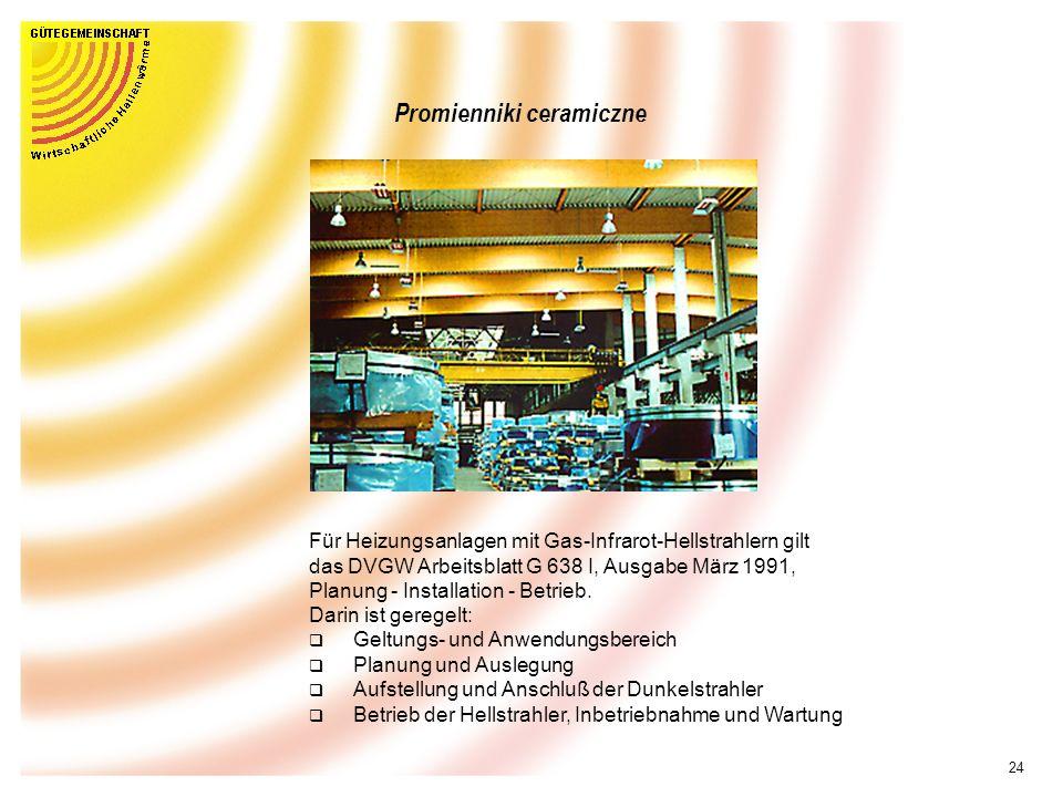 23 Promiennik ceramiczny Promiennik ceramiczny z reflektorem Promiennik z konwektorem Promienniki ceramiczne DIN EN 419 Promiennik z palnikiem bez wen