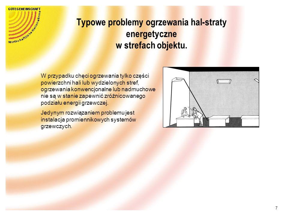 7 Typowe problemy ogrzewania hal-straty energetyczne w strefach objektu.