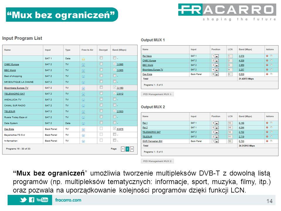 14 Mux bez ograniczeń Mux bez ograniczeń umożliwia tworzenie multipleksów DVB-T z dowolną listą programów (np. multipleksów tematycznych: informacje,
