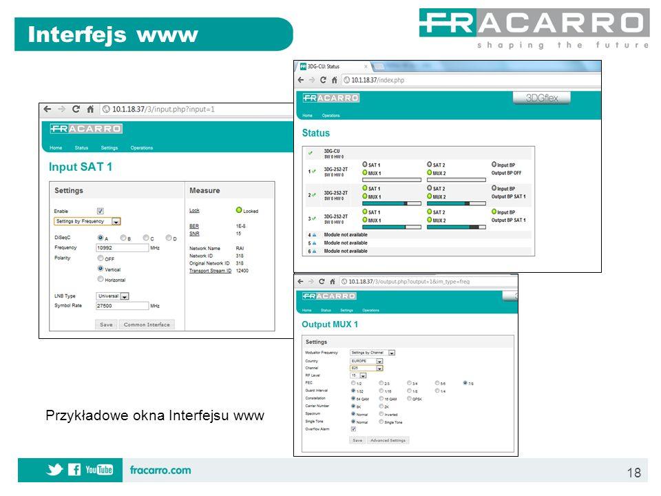 18 Interfejs www Przykładowe okna Interfejsu www