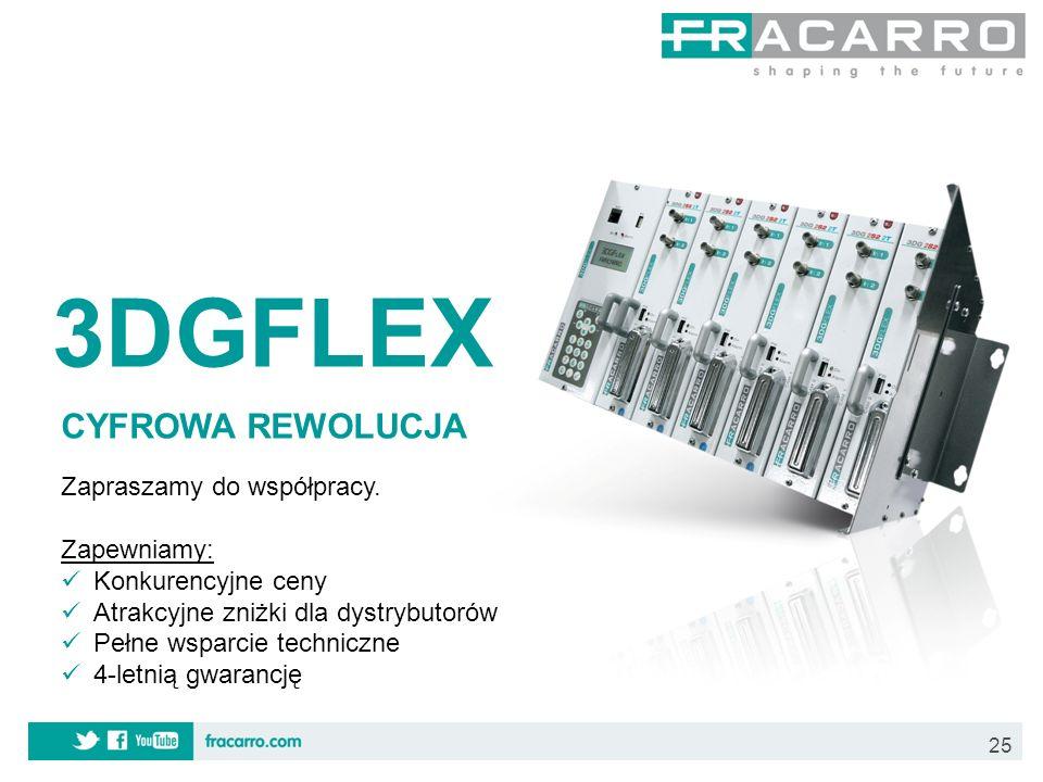 25 3DGFLEX CYFROWA REWOLUCJA Zapraszamy do współpracy. Zapewniamy: Konkurencyjne ceny Atrakcyjne zniżki dla dystrybutorów Pełne wsparcie techniczne 4-