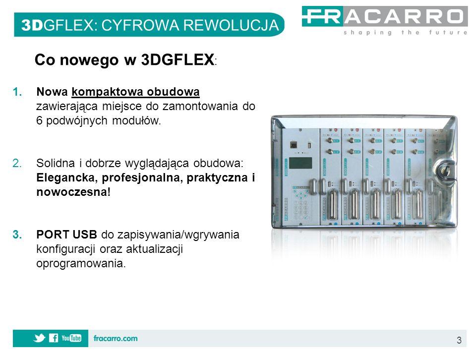 24 3D GFLEX: CYFROWA REWOLUCJA KODPRODUKTOPISPAKOWANIE 2831563DG-BOX Obudowa z zasilaczem i panelem zarządzającym Pojedynczo 2831573DG-2S2-2TPodwójny panel DVB-S2-DVB-T z podwójnym slotem CI Pojedynczo 2831583DG-FRONTPANELPrzednia maskownica slotuPojedynczo