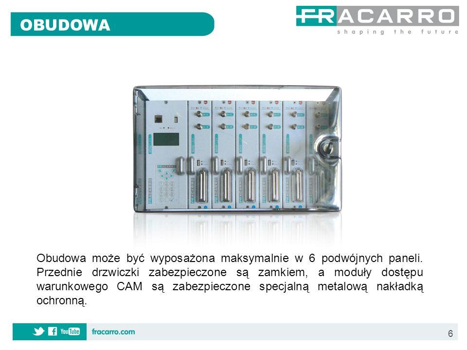 7 Wbudowany zasilacz dostarczający zasilanie do poszczególnych paneli; Zarządzanie i kontrola paneli - wbudowany panel zarządzający do lokalnego lub zdalnego konfigurowania stacji; Połączenie przelotowe na szynie głównej umożliwiające wprowadzenie programów z transponderów z poprzednich paneli; Sumowanie i wzmocnienie cyfrowego sygnału wyjściowego (maksymalny poziom wyjściowy to 102dBµV z regulacją ~15dB).