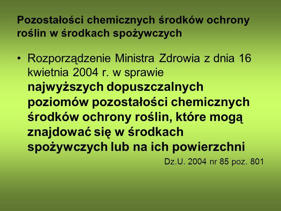 Pozostałości chemicznych środków ochrony roślin w środkach spożywczych Rozporządzenie Ministra Zdrowia z dnia 16 kwietnia 2004 r. w sprawie najwyższyc