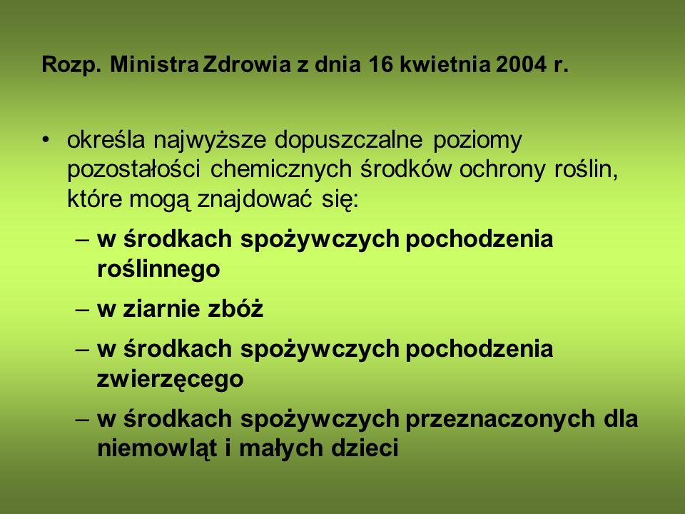 Rozp. Ministra Zdrowia z dnia 16 kwietnia 2004 r. określa najwyższe dopuszczalne poziomy pozostałości chemicznych środków ochrony roślin, które mogą z