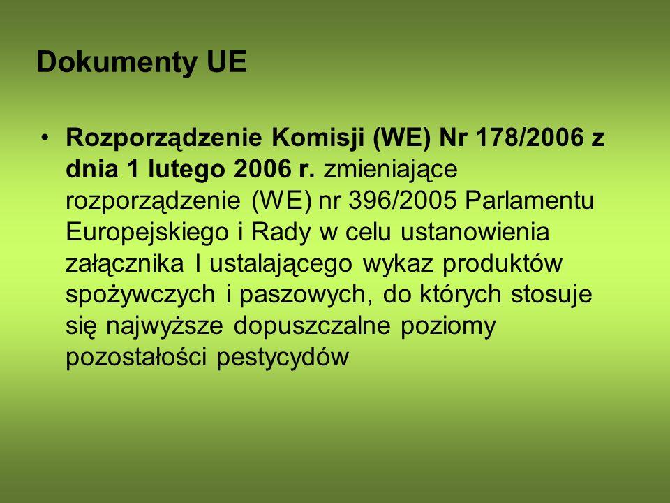 Dokumenty UE Rozporządzenie Komisji (WE) Nr 178/2006 z dnia 1 lutego 2006 r. zmieniające rozporządzenie (WE) nr 396/2005 Parlamentu Europejskiego i Ra