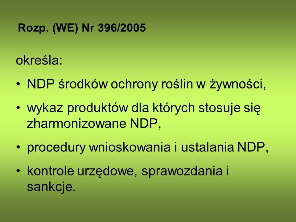 Rozp. (WE) Nr 396/2005 określa: NDP środków ochrony roślin w żywności, wykaz produktów dla których stosuje się zharmonizowane NDP, procedury wnioskowa
