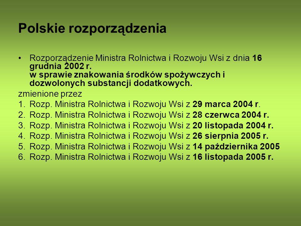 Polskie rozporządzenia Rozporządzenie Ministra Rolnictwa i Rozwoju Wsi z dnia 16 grudnia 2002 r. w sprawie znakowania środków spożywczych i dozwolonyc