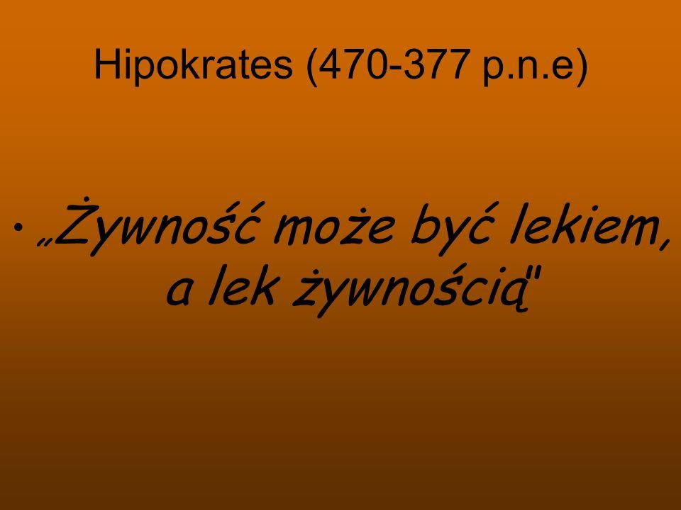 Hipokrates (470-377 p.n.e) Żywność może być lekiem, a lek żywnością