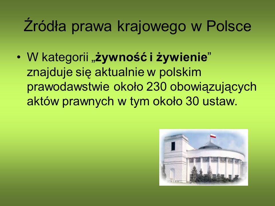 Źródła prawa krajowego w Polsce W kategorii żywność i żywienie znajduje się aktualnie w polskim prawodawstwie około 230 obowiązujących aktów prawnych