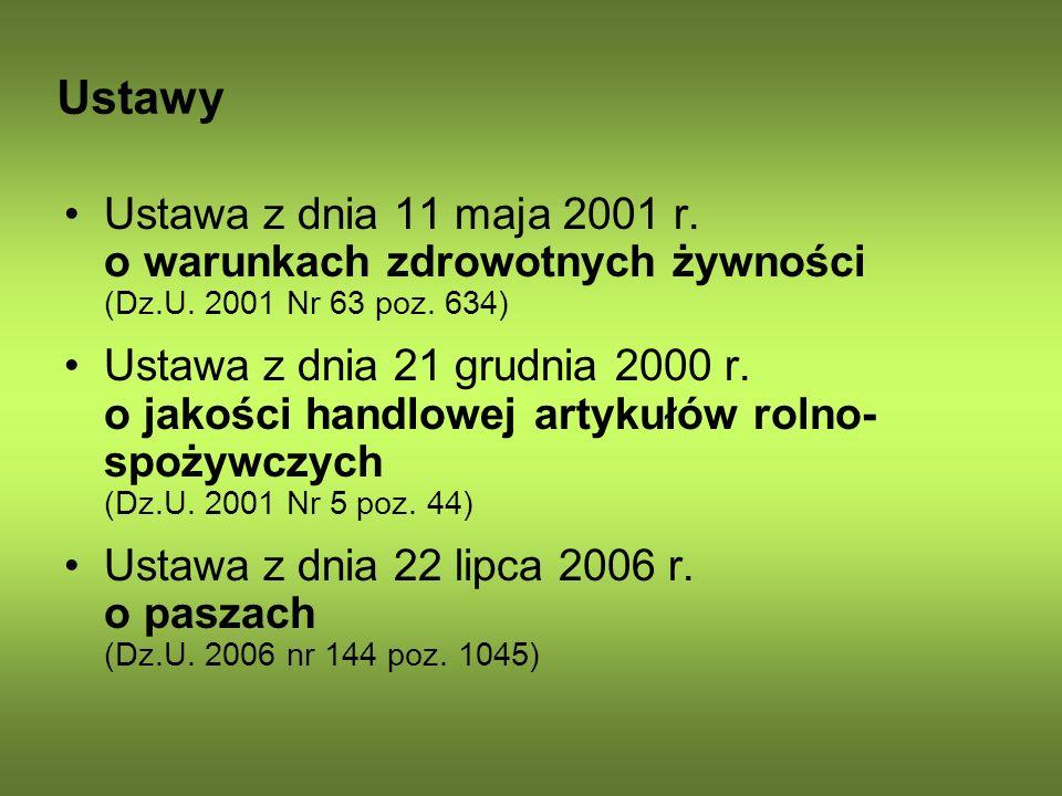 Ustawy Ustawa z dnia 11 maja 2001 r. o warunkach zdrowotnych żywności (Dz.U. 2001 Nr 63 poz. 634) Ustawa z dnia 21 grudnia 2000 r. o jakości handlowej