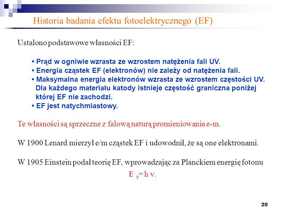 20 Ustalono podstawowe własności EF: Prąd w ogniwie wzrasta ze wzrostem natężenia fali UV. Energia cząstek EF (elektronów) nie zależy od natężenia fal