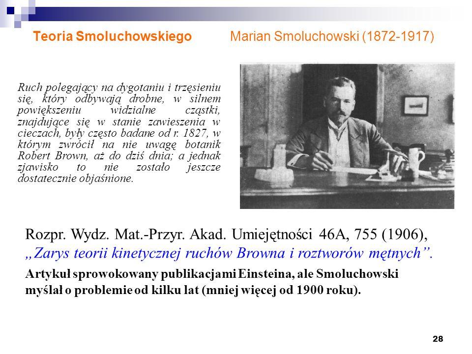 28 Teoria Smoluchowskiego Marian Smoluchowski (1872-1917) Ruch polegający na dygotaniu i trzęsieniu się, który odbywają drobne, w silnem powiększeniu
