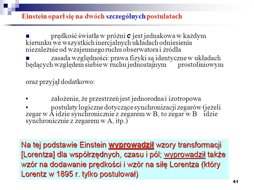 41 Einstein oparł się na dwóch szczególnych postulatach prędkość światła w próżni c jest jednakowa w każdym kierunku we wszystkich inercjalnych układa