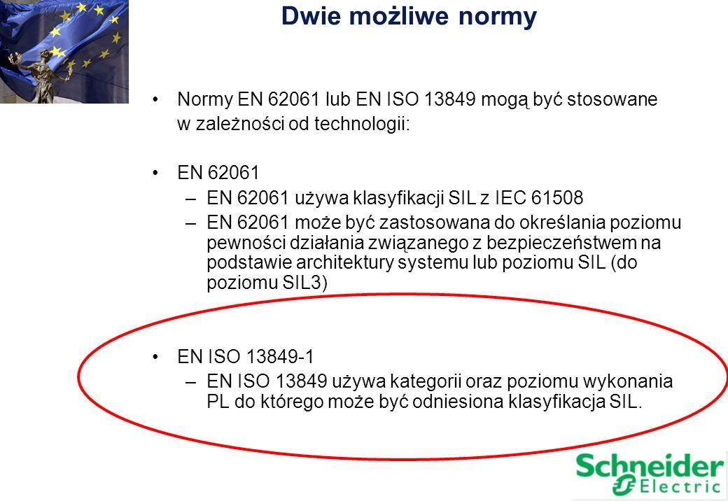 Normy EN 62061 lub EN ISO 13849 mogą być stosowane w zależności od technologii: EN 62061 –EN 62061 używa klasyfikacji SIL z IEC 61508 –EN 62061 może b