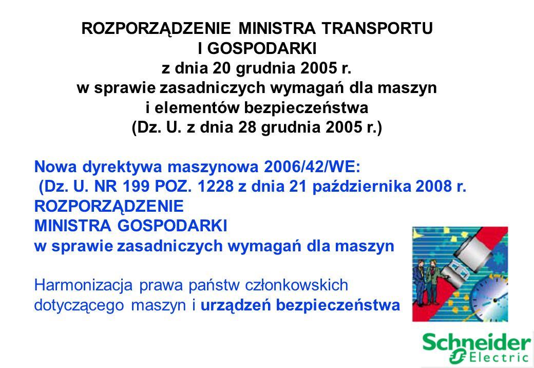 ROZPORZĄDZENIE MINISTRA TRANSPORTU I GOSPODARKI z dnia 20 grudnia 2005 r. w sprawie zasadniczych wymagań dla maszyn i elementów bezpieczeństwa (Dz. U.