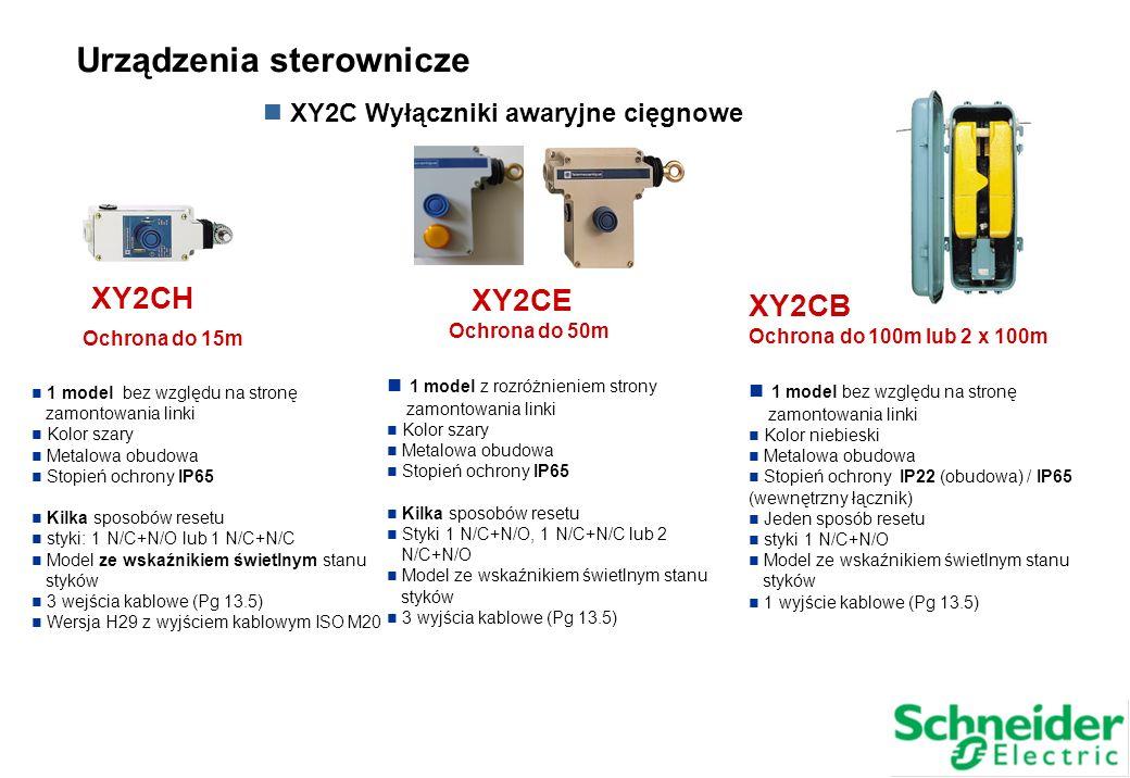 XY2CH Ochrona do 15m 1 model bez względu na stronę zamontowania linki Kolor szary Metalowa obudowa Stopień ochrony IP65 Kilka sposobów resetu styki: 1