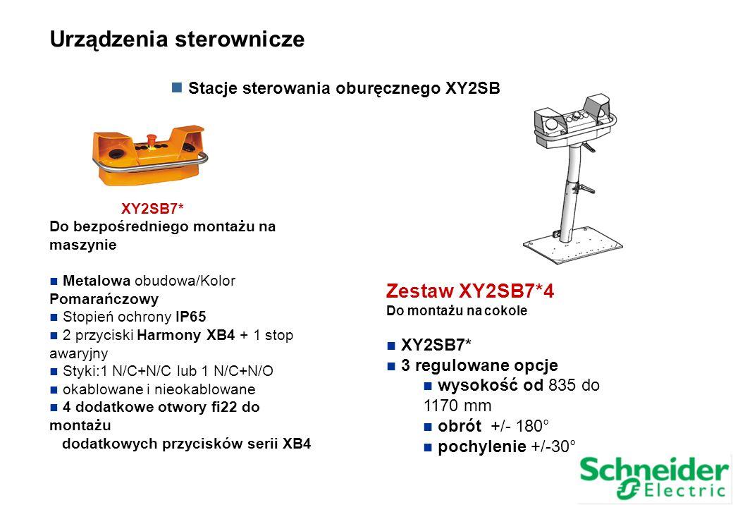 XY2SB7* Do bezpośredniego montażu na maszynie Metalowa obudowa/Kolor Pomarańczowy Stopień ochrony IP65 2 przyciski Harmony XB4 + 1 stop awaryjny Styki