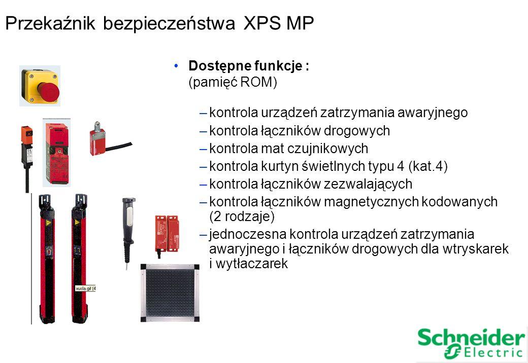 Przekaźnik bezpieczeństwa XPS MP Dostępne funkcje : (pamięć ROM) –kontrola urządzeń zatrzymania awaryjnego –kontrola łączników drogowych –kontrola mat