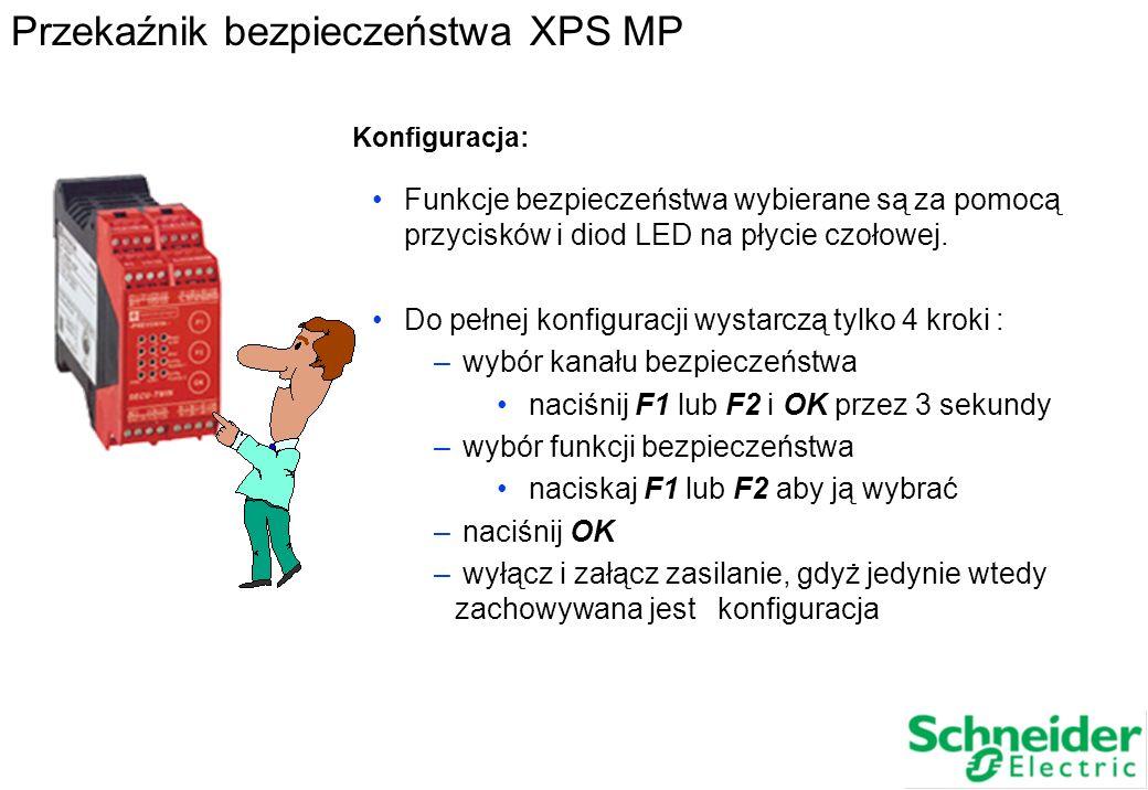 Funkcje bezpieczeństwa wybierane są za pomocą przycisków i diod LED na płycie czołowej. Do pełnej konfiguracji wystarczą tylko 4 kroki : – wybór kanał