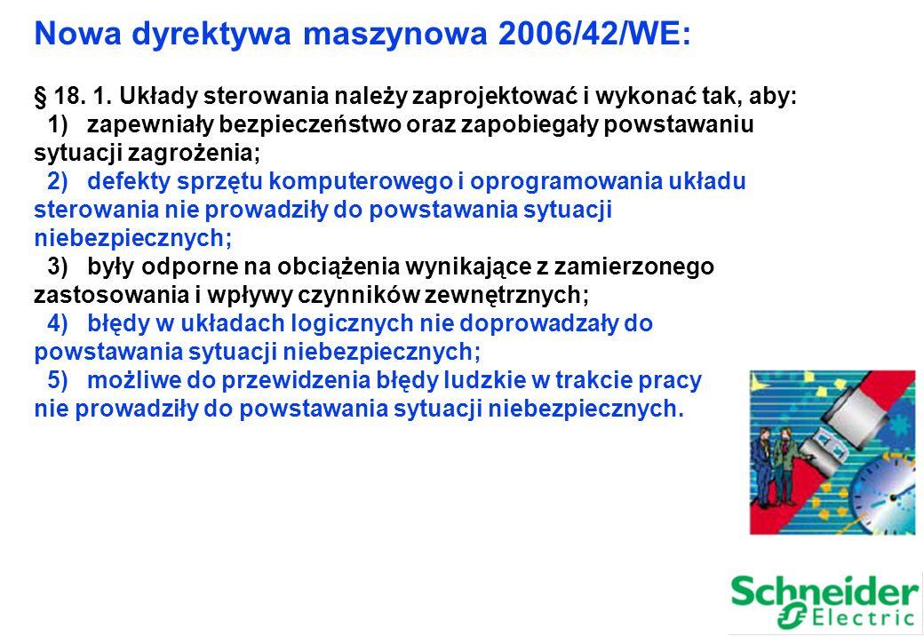 Nowa dyrektywa maszynowa 2006/42/WE: § 18. 1. Układy sterowania należy zaprojektować i wykonać tak, aby: 1) zapewniały bezpieczeństwo oraz zapobiegały