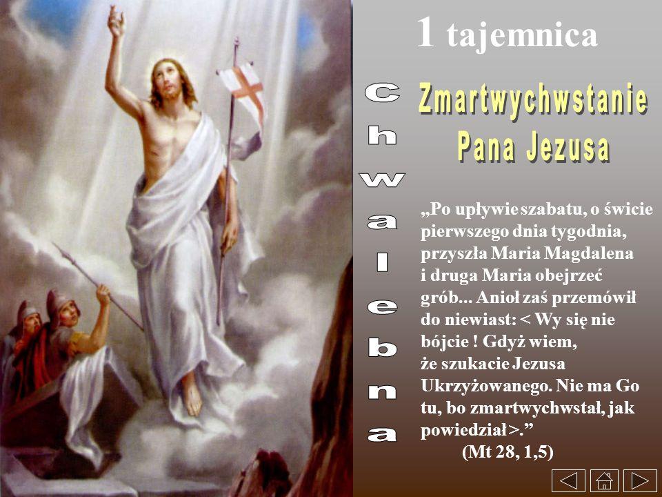 1 tajemnica Po upływie szabatu, o świcie pierwszego dnia tygodnia, przyszła Maria Magdalena i druga Maria obejrzeć grób... Anioł zaś przemówił do niew